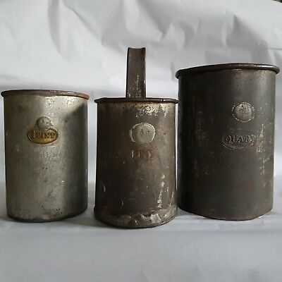 3 x antique tin measures cups Pint & Quart lead stamps display rustic patinated
