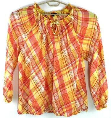 3c2676ea2d5 Lane Bryant Womens Top Size 22 24 Yellow Red Plaid Gathered Neck Smocking