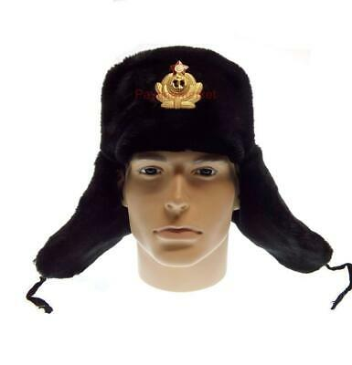 Ushanka Sailor Navy Military Black Hat Russian Army Winter Cap Uniform Seaman