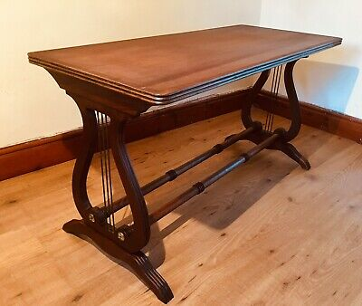 Antique Lyre End Hall Table 19th Century Mahogany