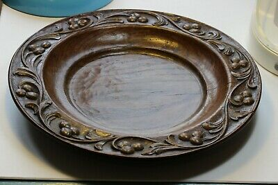 Late Nineteenth Century Turned & Carved Arts & Crafts Wooden Plate.