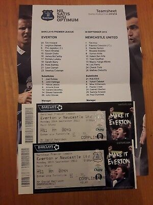 Everton v Newcastle United 30/9/2013 team sheet and 2× match tickets