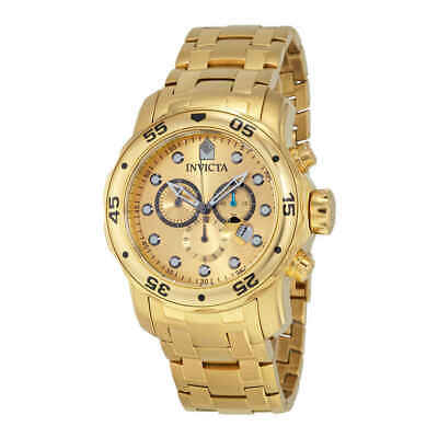 Invicta Scuba Pro Diver Chronograph Gold Dial Gold-tone Men's Watch 0074