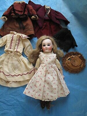 11 In. Antique Sonnenberg Bisque Head Doll W/ Bru Type Face & 13 Piece Trousseau