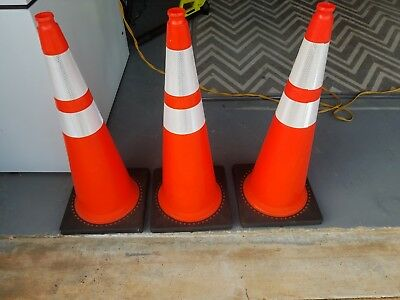 "36"" Orange Traffic Two Tape Safety Parking Driveway Cones Safety Cones (2)"
