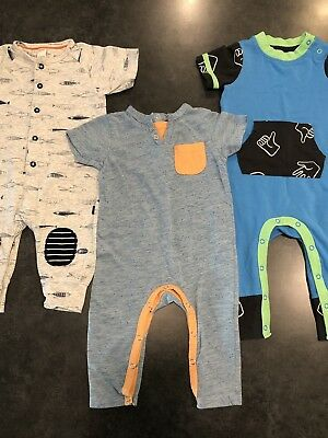 Baby Clothes Lot Of 3 Rompers 6-9 Month 7 For All Mankind Cat & Jack Blue EUC