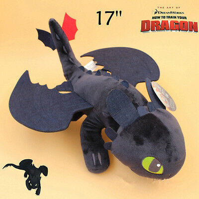 """How to Train Your Dragon Toothless Night Fury Teddy Plush Soft Doll Toy Big 17"""""""