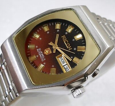 Ricoh Japan Automatic Day Date Red Shaded Dial Mens Vintage Watch Case 36Mm