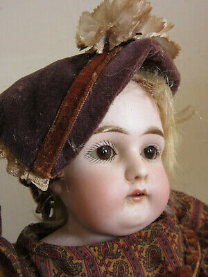 "Antique German #4 18"" Porcelain Bisque Doll with leather body, brown sleepy eyes"