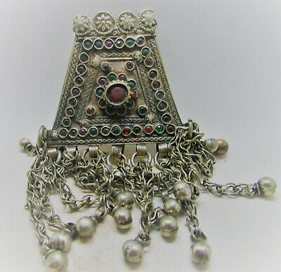 Beautiful Post Medieval Silvered Amulet With Stone Inserts