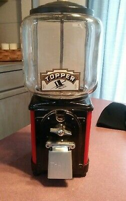 VINTAGE Victor Topper Glass Globe 1 Cent gumball machine Restored RED with key