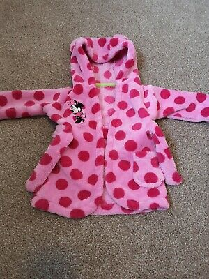 Baby Girls Minnie Mouse Dressing Gown Bath Robe Pink Polka Dot 0-6 Months