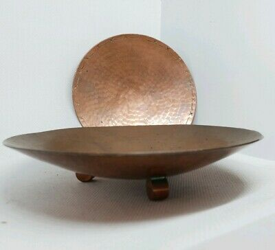 2 x COPPER ARTS & CRAFTS SIGNED Hand Beaten Footed Bowls Dishes. Borrowdale