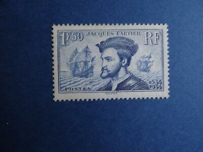 France n°297 Jacques Cartier 1934 timbre Neuf** cote YT 190€