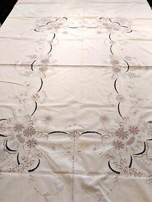 Vintage Tablecloth Embroidered Floral Beige Cotton Blend 69x84 Rectangle