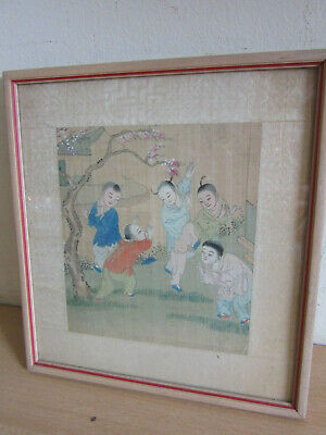 Vintage / Antique Chinese painting on silk, Framed - Children playing under tree