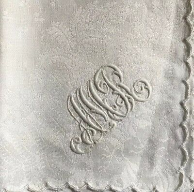 Three Lovely  double damask Napkins With AMR Monogram 14 Inch