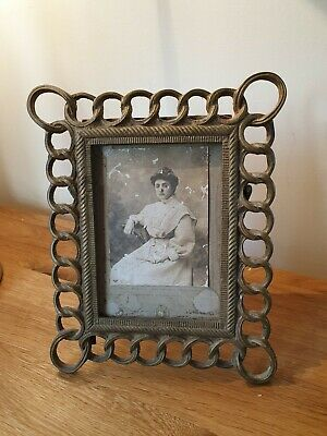 Vintage Antique Solid Brass Easel Stand Back Picture Photo Frame