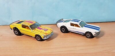 2 Vintage Hot Wheels 70's made in France _ Mustang Stocker _ 1/64 Loose _ played
