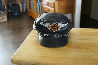 e1f25f5d8fa VINTAGE HARLEY DAVIDSON Captains Cap Hat and Fox   Co Sheriff Badge ...