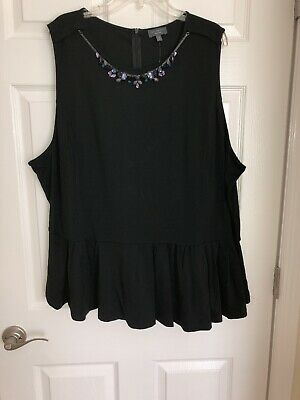 The Limited Collection Sleeveless Top 3x Black Embellished Womens
