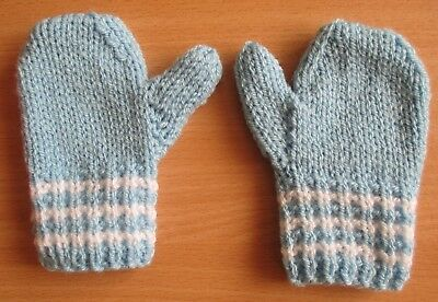 Hand knitted mittens for toddler - blue with white trim