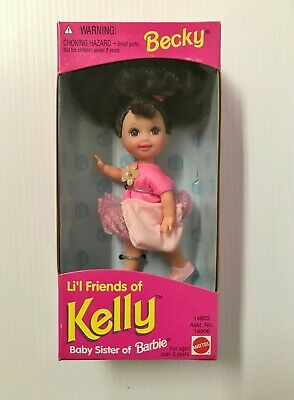 Becky Lil Friends of Kelly Baby Sister of Barbie Doll Mattel 1995 Pink Dress