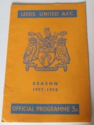 Leeds United v Arsenal 1957/58 season football programme