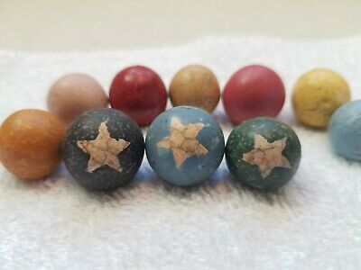 Antique Lot Of 10 CIVIL WAR ERA CLAY marbles Handmade USA 1850's - 3 with Star