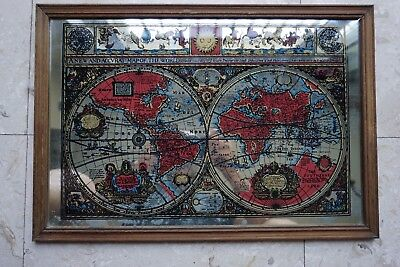 Vintage Old Map Of The World 1651 On Mirror Framed