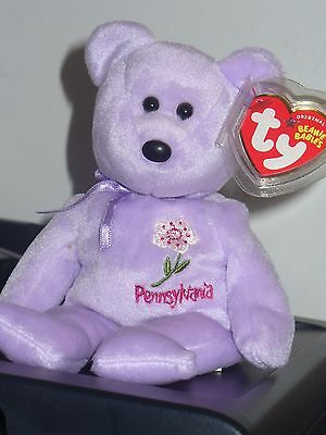 Ty Beanie Baby Bear - Pennsylvania Mountain Laurel  - Hang Tag Protected - Excel