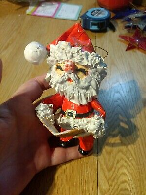 Vtg Christmas Santa Claus Figure Paper Mache Ornament Tree Decoration Holiday