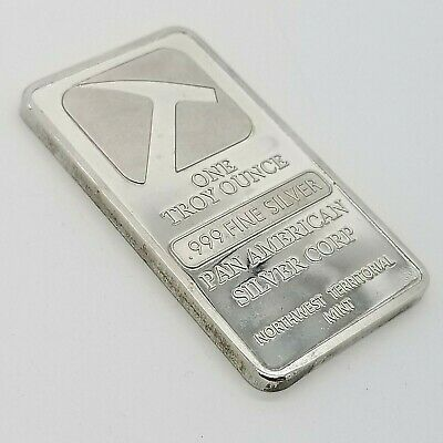 Pan American Silver Corp 1 One Troy Ounce Oz Pure .999 Fine Silver Bar