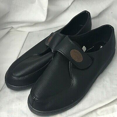 Mens Gents Mans Black Velcro Slipper Shoes Slippers Size 7.5