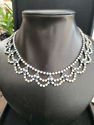 A beautiful vintage 30s sapphire blue and clear paste Art Deco Cocktail Necklace