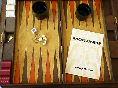 Vintage Cased Phillip Martyn Backgammon Board Game Set Complete Whittlecraft