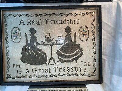 """Vintge / Antique Cross Stitch Sampler """" A REAL FRIEND IS A GREAT TREASURE """" 1930"""