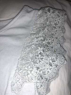 Gap Kids Girls Age 10-11 Grey Frilly Lace Short Sleeve Top