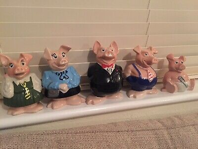 Natwest Pigs - 1980's Excellent Condition - All 5 In Set