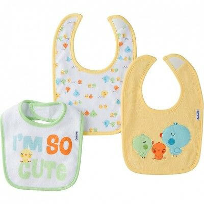 Gerber Baby Unisex 3 Pack Bibs Adorable Yellow Neutral NEW Shower Gift