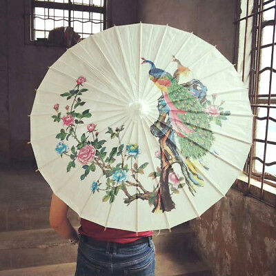 Color Peacock White Paper Parasol Chinese Wedding Japanese Umbrella Party A6