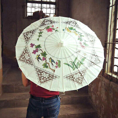 Four Flower White Paper Parasol Chinese Wedding Japanese Umbrella Party A3