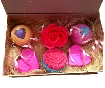 Bath bomb and soap flower gift set mothers day birthday 5 bath bombs and soap