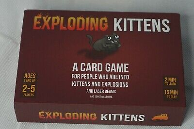 Exploding Kittens Family Party Card Games Ages 7+ 2-5 Players  USED