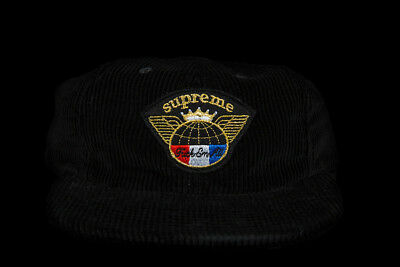 d8825d20895 Supreme Global Corduroy 6-Panel Black Fw17 Hat Red White Box Logo Cdg Tnf  Camp