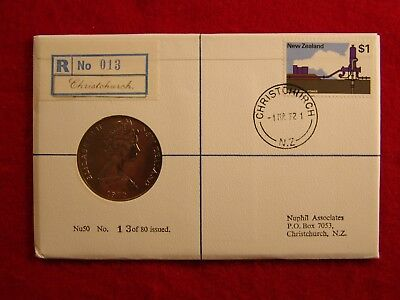 Nuphil Nu50, New Zealand 1972 FDC Issue of $1 Coin, # 013 of 80 made, Very RARE