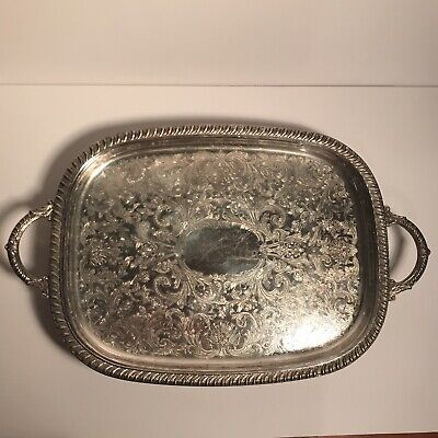 "Vintage Ornate Serving Platter Leonard Silverplate Tray With Claw Feet 14"" x 18"""
