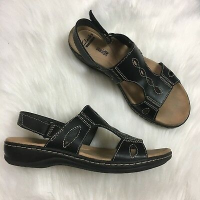 85e0d610a29 Clarks Womens Leisa Lakelyn Leather Sandals Size US 7 M Black Lightweight  SH1XM