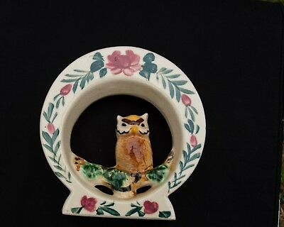 Vintage Owl on Branch Round Wall Pocket Planter Multi colored