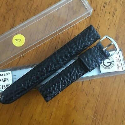 NOS vintage mens GENUINE PADDED STITCHED SHARKSKIN watch band silver buckle 16mm